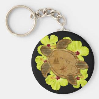 Honu Hawaiian Map Basic Round Button Keychain
