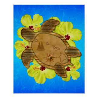 Honu Hawaiian Map Poster