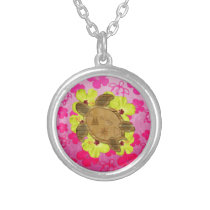 Honu Hawaiian Map Silver Plated Necklace