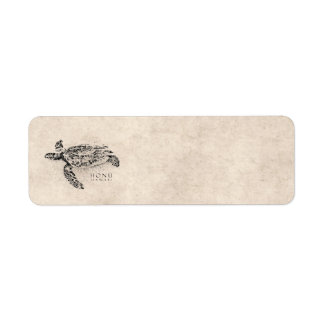 Honu Hawaiian Sea Turtle on Vintage Parchment Label
