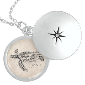 Honu Hawaiian Sea Turtle on Vintage Parchment Locket Necklace