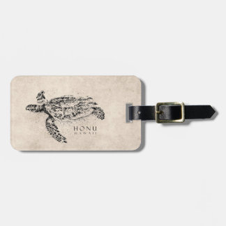 Honu Hawaiian Sea Turtle on Vintage Parchment Tags For Bags