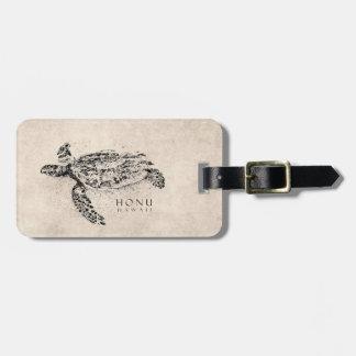 Honu Hawaiian Sea Turtle on Vintage Parchment Luggage Tag