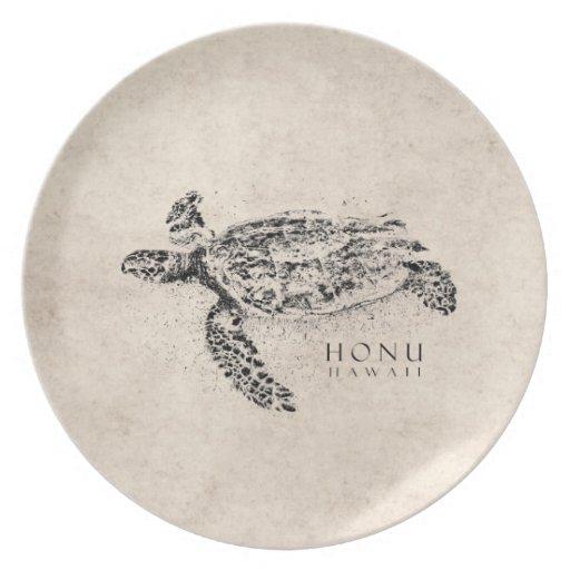 Honu Hawaiian Sea Turtle on Vintage Parchment Dinner Plates
