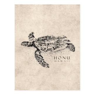 Honu Hawaiian Sea Turtle on Vintage Parchment Postcard