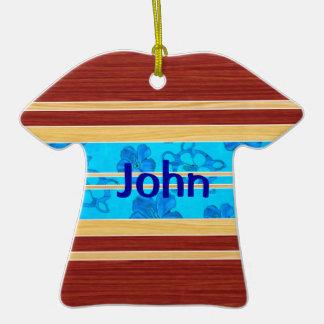 Honu Hawiian Fake Wood Surfboard Christmas Tree Ornament