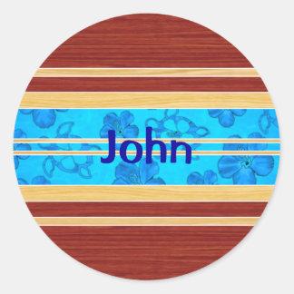 Honu Hawiian Fake Wood Surfboard Sticker