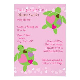 Honu & Hearts Baby Shower Invitation - Pink