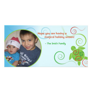 Honu Ocean Swirls Christmas Photo Card