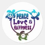 Honu Peace Love Happiness Classic Round Sticker