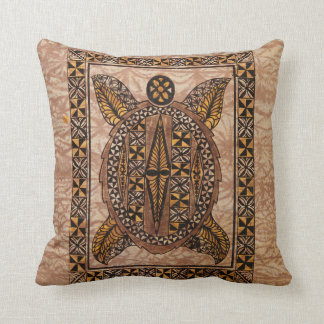 Honu Primitive Hawaiian Tattoo Tapa Throw Pillow