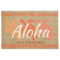 Honu Sea Triple Turtle Hawaiian Tapa Papaya Doormat