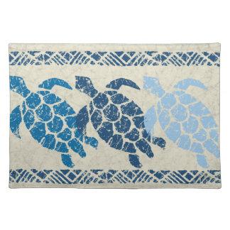 Honu Sea Turtle Hawaiian Batik - Natural and Blue Cloth Placemat