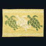 """Honu Sea Turtle Hawaiian Tapa Batik -Banana Kitchen Towel<br><div class=""""desc"""">Banana, natural, olive and moss greens colorway. Ancient Samoan tapas are the inspiration for this primitive honu (turtle) design used in the Polynesian &amp; Hawaiian cultures. These types of designs were often printed on aloha shirts &amp; pareaus for traditional hula dancers. We took our turtle, distressed him, as he would...</div>"""