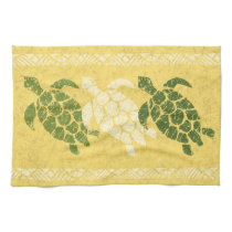 Honu Sea Turtle Hawaiian Tapa Batik -Banana Kitchen Towel