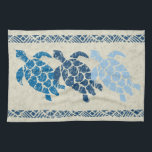 "Honu Sea Turtle Hawaiian Tapa Batik -Indigo Towel<br><div class=""desc"">Natural and tonal indigo colorway. Ancient Samoan tapas are the inspiration for this primitive honu (turtle) design used in the Polynesian &amp; Hawaiian cultures. These types of designs were often printed on aloha shirts &amp; pareaus for traditional hula dancers. We took our turtle, distressed him, as he would appear when...</div>"