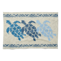 Honu Sea Turtle Hawaiian Tapa Batik -Indigo Towel