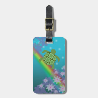 Honu Sea Turtle Tropical Swim Rainbow and Flowers Luggage Tag