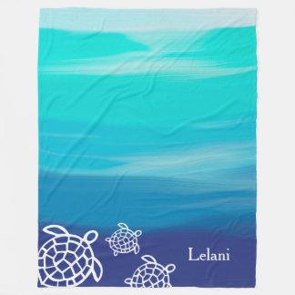 Honu Sea Turtles Beach Ocean Waters Fleece Blanket