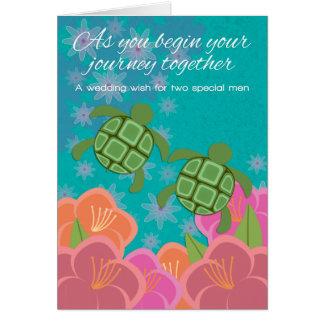 Honu Swimming Turtles Gay Wedding Congratulations Card