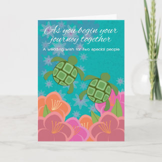 Honu Swimming Turtles Wedding Congratulations Card