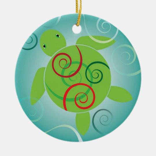 Honu Swirls Christmas Ornament