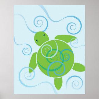 Honu Swirls Poster