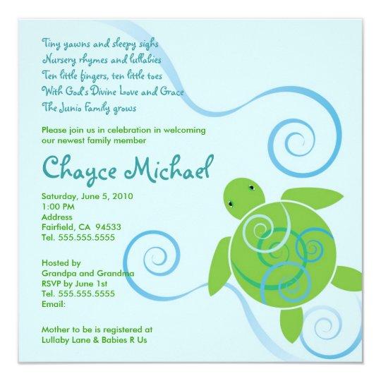 Sea Turtle Wedding Invitations: Honu Swirls With Poem Baby Shower Invitation