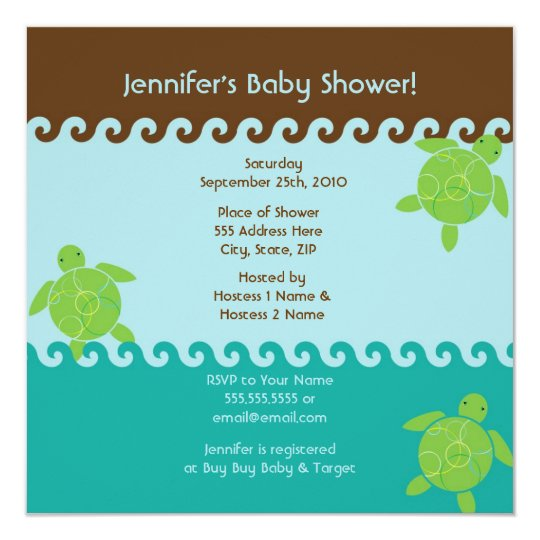 Honu Waves Baby Shower - Blue - Square Card