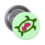 Honu with hibiscus flowers button
