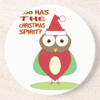 HOO HAS THE CHRISTMASS SPIRIT? BEVERAGE COASTER