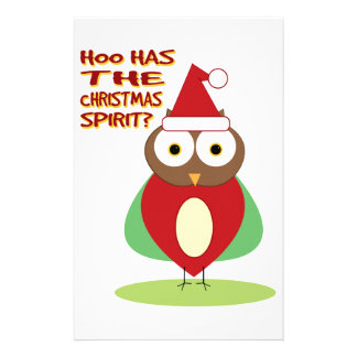 HOO HAS THE CHRISTMASS SPIRIT? PERSONALIZED STATIONERY