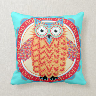 Hoo Hoo Cute Little Owl Drawing in Bright Colors Pillows