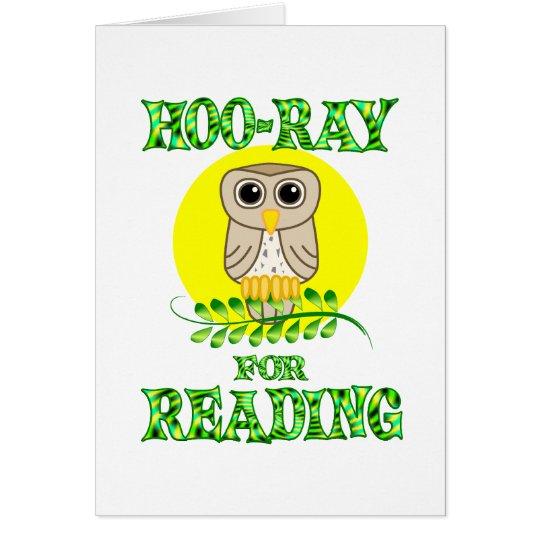 Hoo-Ray for Reading Card
