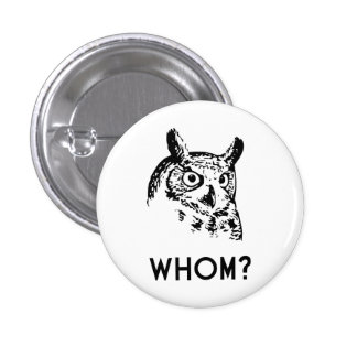 Hoo Who Whom Grammar Owl 1 Inch Round Button