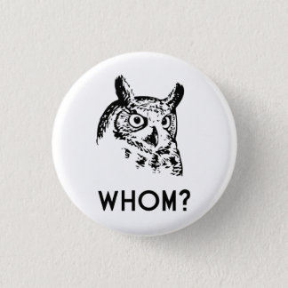 Hoo Who Whom Grammar Owl Pinback Button