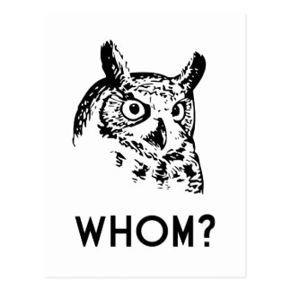 Hoo Who Whom Grammar Owl Postcard