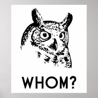 Hoo Who Whom Grammar Owl Poster