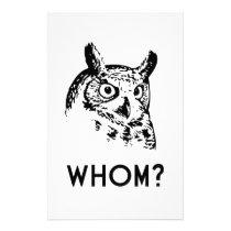 Hoo Who Whom Grammar Owl Stationery