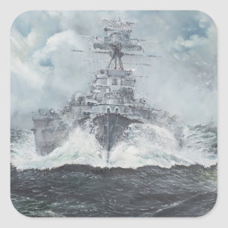 Hood heads for Bismarck 23rdMay 1941. 2014 Square Sticker