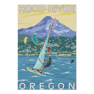 Hood River ORWind Surfers Kite Boarders Poster