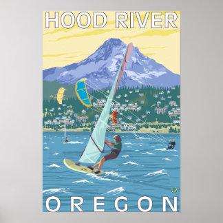 Hood River, personas que practica surf de ORWind y Póster