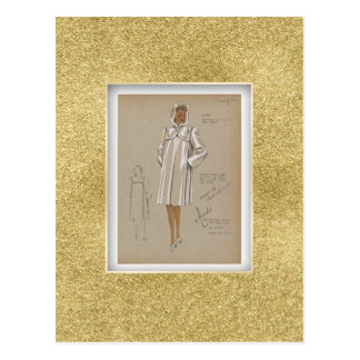 Hooded Boxy Coat pockets in yoke 1940s Fashion Postcard