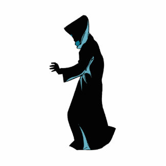 Hooded figure from side hand out photo cutout