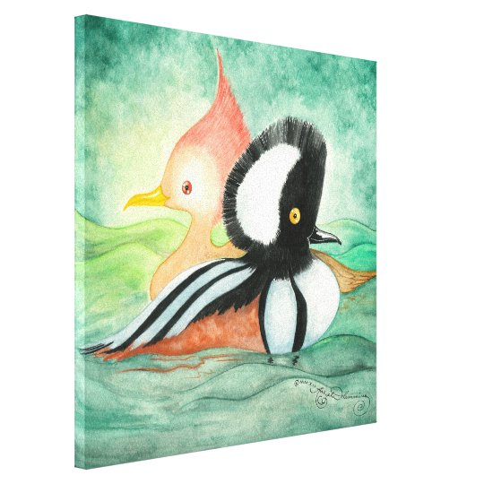 Hooded Merganser Ducks Male  and Female Canvas Print