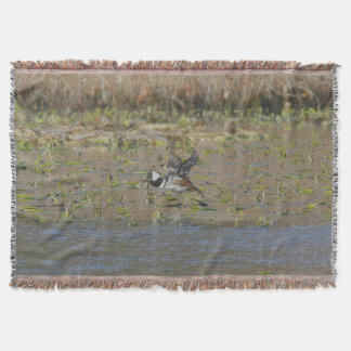 Hooded Merganser in flight Throw Blanket