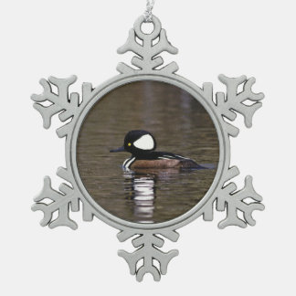 Hooded Merganser Snowflake Pewter Christmas Ornament