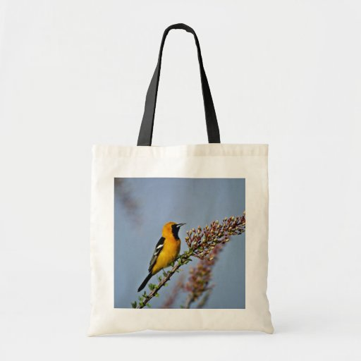 Hooded Oriole in Ocotillo Pink flowers Tote Bag