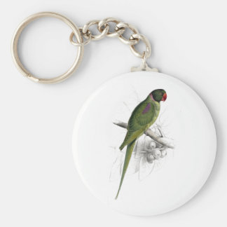 Hooded Parrakeet by Edward Lear Keychain