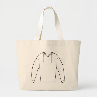 Hooded Pullover Shirt Drawing Large Tote Bag